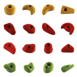 "Varied climbing holds pack ""S, M, ML"""